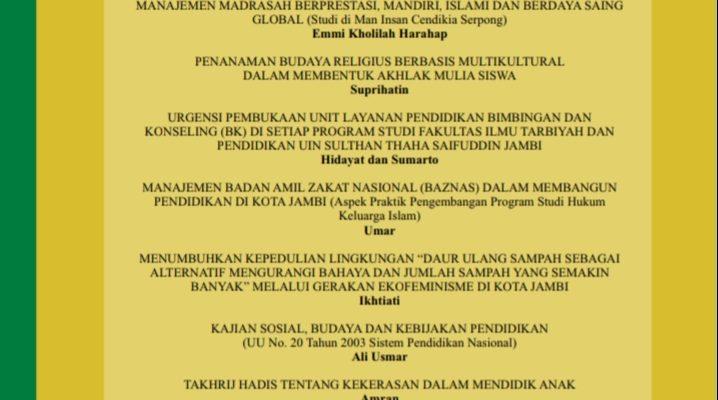 Terbit Tulisan di Jurnal Al Ashlah STAI Ma'arif Jambi: Dr. H. Hidayat dan Dr. Sumarto
