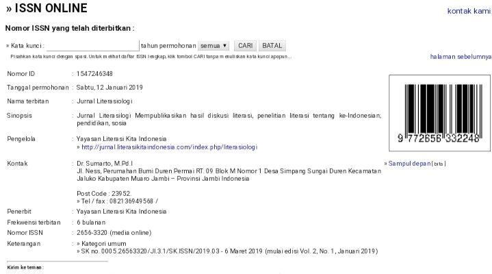 LIPI Menerbitkan Nomor E-ISSN Jurnal Literasiologi